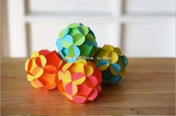 各色美丽折纸立体花球制作步骤图解