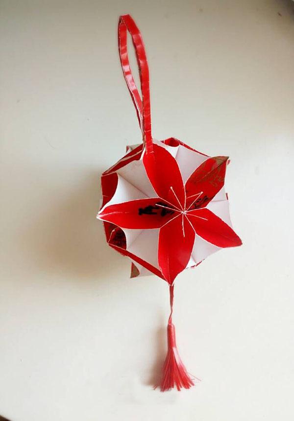 手工折纸diy漂亮的红灯笼欣赏