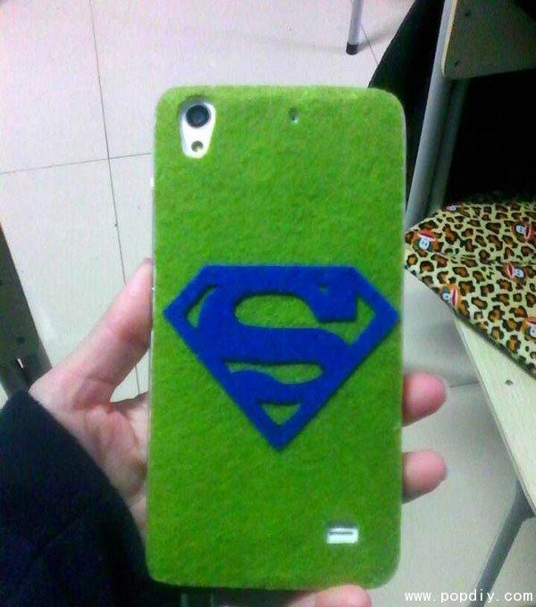 手工制作漂亮的超人diy手机壳