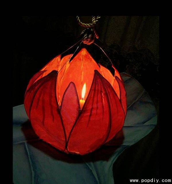 创意手工纸艺diy制作漂亮的莲花灯笼