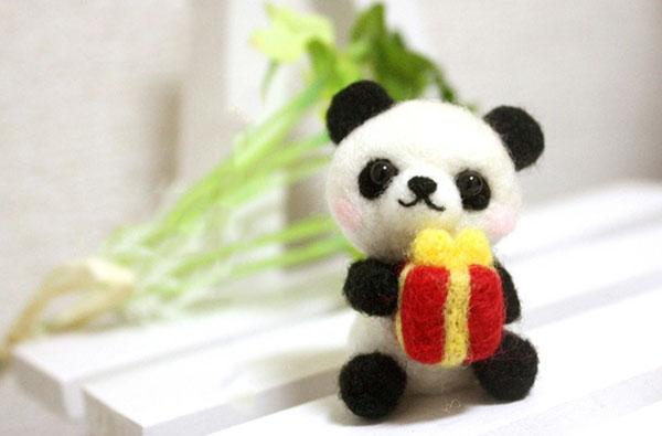 羊毛毡diy手工呆萌可爱的熊猫节日生日幸运日的百变表情包