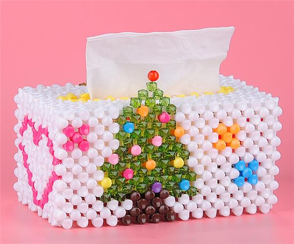 手工diy串珠制作的这种创意圣诞树大号纸巾盒