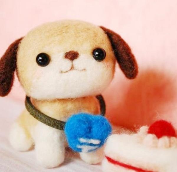 羊毛毡手工diy呆萌可爱的小狗狗的玩偶