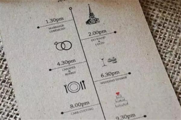 用时间轴来规划婚礼流程大概是最实用的婚礼请柬了吧,这样让图片
